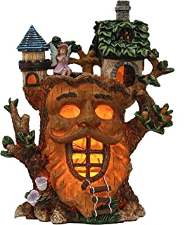 TERESA'S COLLECTIONS Fairy Garden House Statue, 9.3 Inch Funny Garden Dryad House Figurines with Solar Lights, Large Polyr...