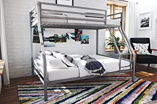 Novogratz Maxwell Twin/Full Metal Bunk Bed, Sturdy Metal Frame with Ladder and Safety Rails, Grey