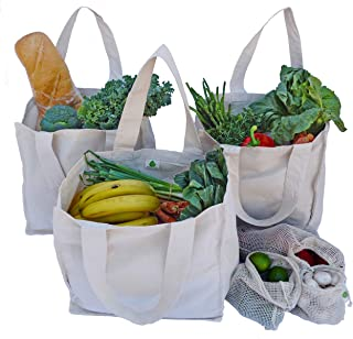 Canvas Grocery Shopping Bags With Handles and Pockets (3 Pack) + Mesh Produce Bags Set (3 Reusable Cloth Grocery Tote Bags + 3 Mesh Bags for Vegetables) 100% Cotton by Vera Green