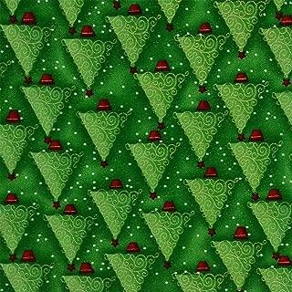 Hadson Craft Árbol de Navidad verde 100% algodón Quilting Craft Tela - Precio por cuarto de metro (0,25 cm), talla única