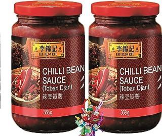 yoaxia  - 2er Pack -  2x 368g  LEE KUM KEE Scharfe Bohnensauce  Toban Djan  Chili Bean Sauce  ein kleines Glückspüppchen - Holzpüppchen