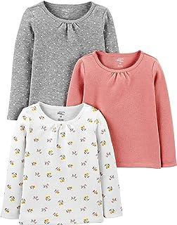 Girls' Toddler Multi-Pack Long Sleeve Shirts,...