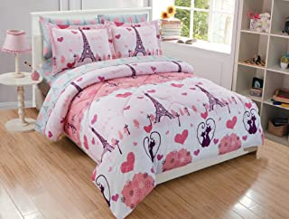 MK Home 7pc Queen Comforter Set For Girls Paris Bedding Eiffel Tower Pink Grey New