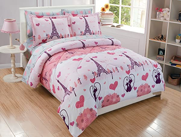Fancy Linen Teens Girls 7pc Full Comforter Set Paris Eiffel Tower Hearts Pink Grey New Paris