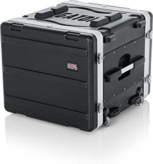 Gator Cases Lightweight Rolling 8U Rack Case with Heavy Duty Latches, Retractable Tow Handle, and Recessed Wheels; Standard 19.25