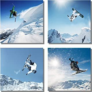 XOTOArt – Ski Poster Canvas Wall Art, Mountain Snow Contemporary Extreme Sports Artwork Decorations for Living Room Office Bedroom Decor(12