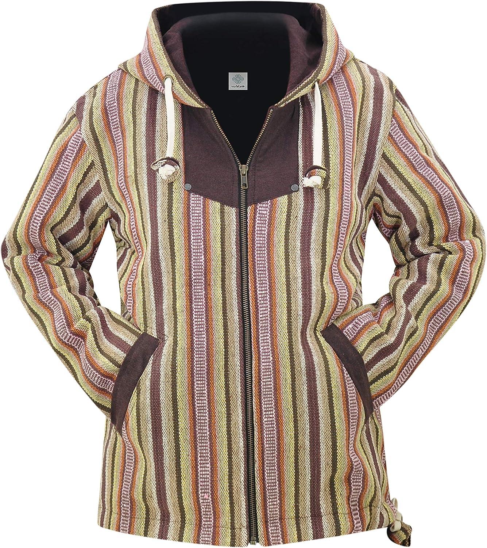 virblatt - Baja Hoodie Women   100% Cotton   Mexican Ponchos Drug Rug Hoodie Women Jacket Poncho Rasta