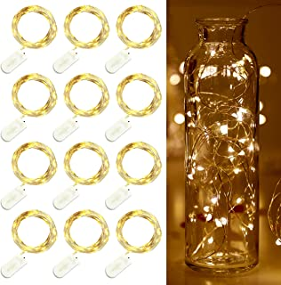 Trees&Forrest Christmas Fairy Lights Battery Operated String Lights 20 Led Firefly Lights Copper Wire Lights for Wedding Party Centerpiece Xmas Tree Decoration Lights, 6.5Ft Warm White, 12 Pack