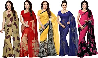 Ishin Combo of 5 Poly Georgette Multicolor Printed Women Saree
