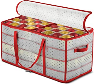 Plastic Christmas Ornament Storage Box Large with 2 Sided Dual Zipper Closure - Keeps 128 Holiday Ornaments, Xmas Decorations Accessories, 3