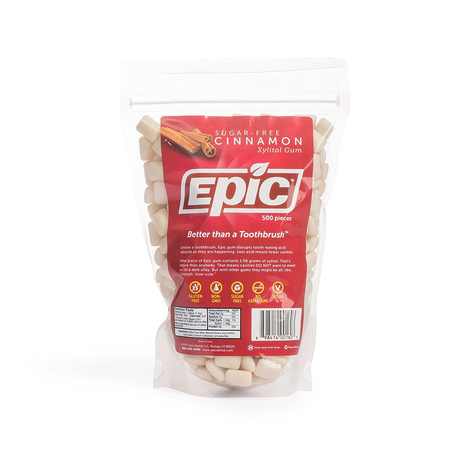 Epic 100% Seattle Mall Xylitol-Sweetened We OFFer at cheap prices Chewing Gum 500-Count Cinnamon Bul