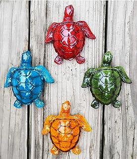 GIFTME 5 Cute Sea Turtles Wall Decor Set of 4 Indoor Outdoor Resin Wall Decor Prefect..