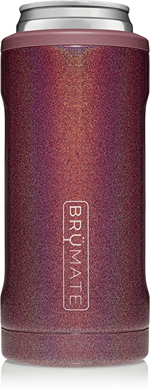 Br Mate Hopsulator Slim Double Walled Stainless Steel Insulated Can Cooler For 12 Oz Slim Cans Glitter Merlot