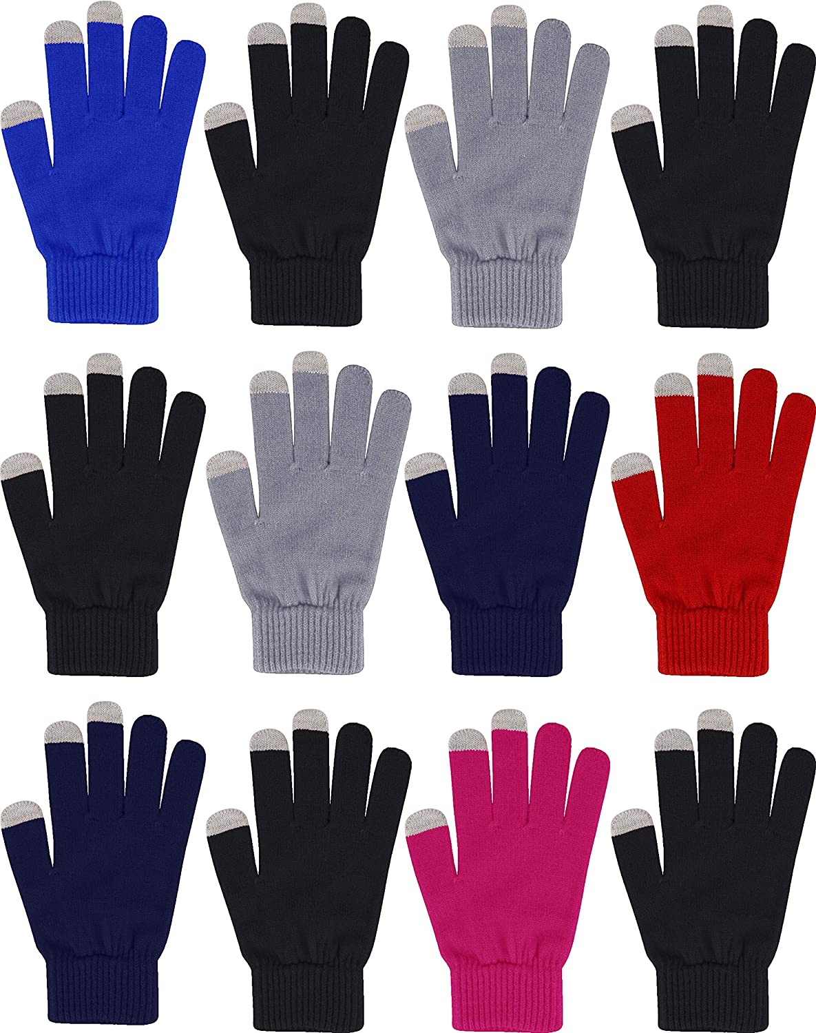 12 Pairs Touch Screen Gloves, Thermal Winter Bulk Pack, Lightweight Warm Soft Stretchy