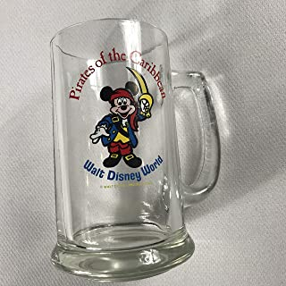 Walt Disney Glass Stein Vintage 70s Mug Pirates Of The Caribbean World Mickey Mouse