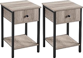 Yaheetech Tables d'Appoint Lot de 2 Bout de Canapé Tables de Chevet Industrielle en Bois avec 1 Tiroir 1 Etagère Peu encom...