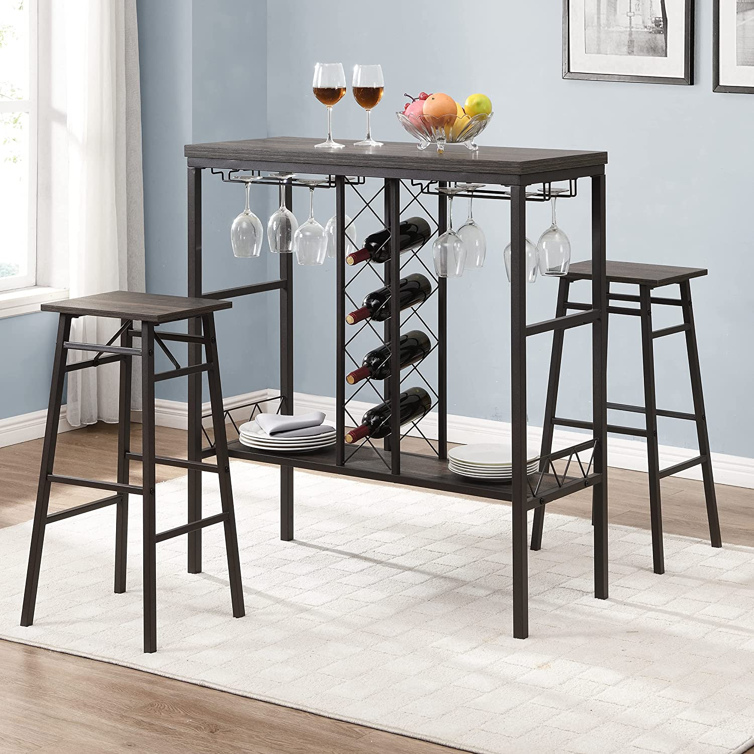 HOMYSHOPY Bar Table Set with 9 Chairs, Dining Table Set with 9 Stools, 9  Piece Kitchen Table with Wine Rack and Glass Holder, Industrial Pub Table  Set ...
