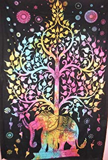 Traditional Jaipur Exports Tie Dye Tree of Life with Elephant Good Luck Indian Tapestry, Wall Hanging, Hippie Throw, Ethnic Boho Dorm Décor, Picnic Throw