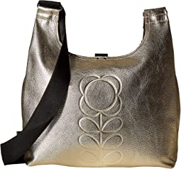 Orla Kiely - Embossed Flower Stem Leather Midi Sling Bag