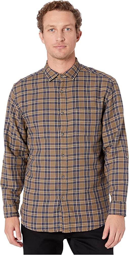 Tan/Navy Herringbone Plaid