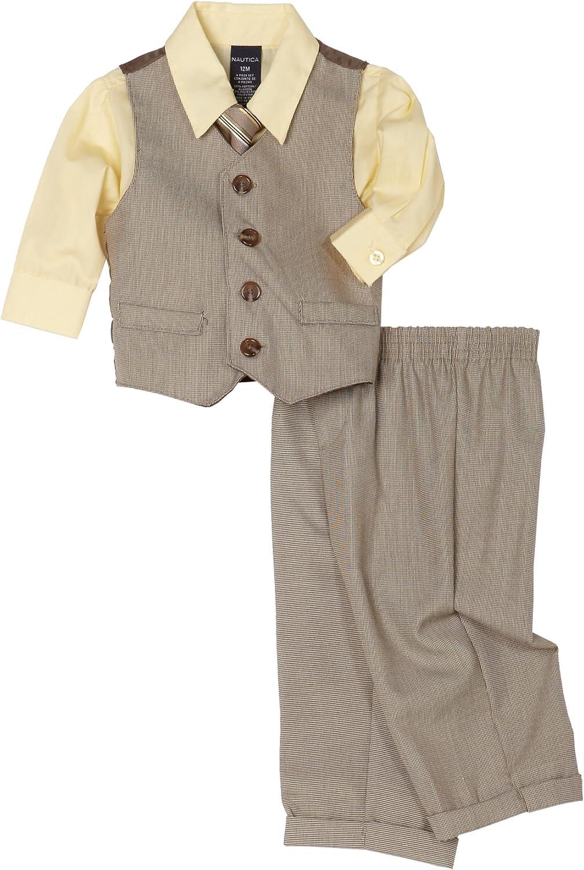 Nautica Check Vest Set, Taupe, 24 Months