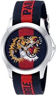 Gucci - Reloj Análogo clásico para Unisex de Cuarzo con Correa en Nailon YA126495