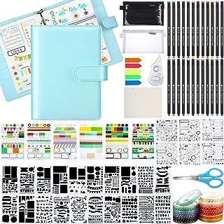 طقم مجلة منقط، ورقة رخوة A5 Bullet Grid مجلة مع 6 حلقات Binder Journal Stencil بلاستيك 24 قلم ملون ملصقات مقص أشرطة تخزين ...