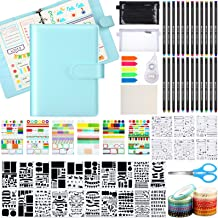 Dotted Journal Kit, A5 Bullet Grid Journal Loose Leaf with 6 Ring Binder Journal Stencil Plastic 24 Colored Pens Stickers ...
