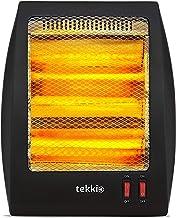Tekkio T2003 - Estufa Eléctrica De Cuarzo con 2 Tubos, 800w. 2 Niveles De Potencia: 400 W - 800 W. Interruptor Antivuelco, Protección Térmica. Color Negro