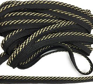5 Yards 516 Inch Black Shiny Braided Lip Cord Trim|Piping Trim|Pillow Trim|Cord Edge Trim|Upholstery Edging Trim