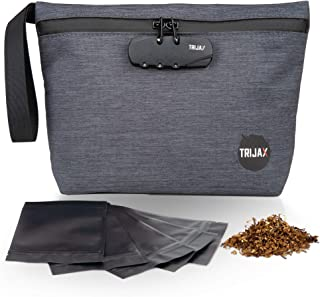 Smell Proof Bag - Stash Pouch - Carbon Lined Divider Pockets With Bonus Resealable Bags - Weatherproof, Water-Resistant Material With Hand Strap Scent Proof Bag - Odor Proof Bags