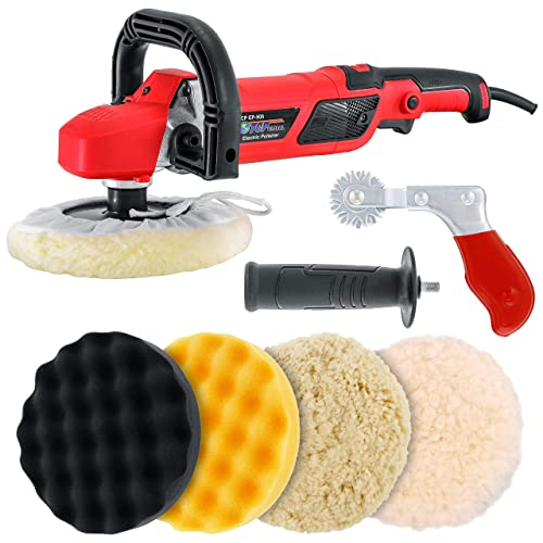 """TCP Global 7"""" Professional High Performance Variable Speed Polisher with a 4 Pad Buffing and Polishing Kit and a Pad Cleaning Spur - Buff, Polish & Detail Car Auto Paint"""