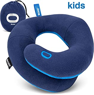 BCOZZY Kids- Travel Pillow- Supports Child's Head, Neck & Chin While Sleeping in Booster Carseat. Best Toddler Accessory & Activity for Traveling on Airplane and Road Trips. Navy