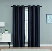 Set of 2 Faux Silk Blackout Grommet Top Window Curtain Panels 38x63 Each