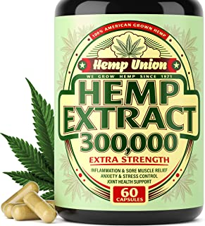 Hemp Oil Capsules 300,000 - Best for Anxiety & Stress Relief - Hemp Seed Oil Capsules Made in USA - 100% Na...