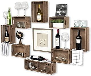 Wallniture Rustic Wine Rack Storage Baskets Wall Mount Wooden Crates Walnut Set of 9