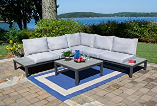 Tortuga Outdoor Sky-KD Lakeview 4 Piece Set Sectional Outdoor Seating, Grey