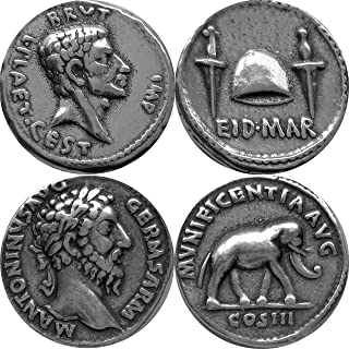 Golden Artifacts Brutus and Marcus Aurelius, Two Most Famous Roman Coins, Collectible Coin Sets, Roman Empire, 2 Coins (20+26-S)