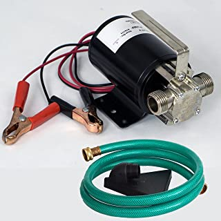HydraPump Mini DC - 12-volt 1/10th HP 330 GPH Battery Powered Portable Transfer Water Pump with Metal Connectors for Standard 3/4