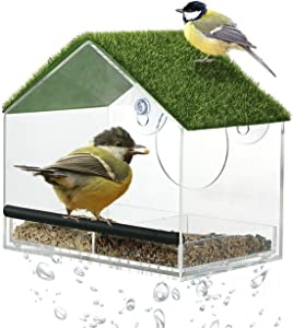 Window Bird Feeders with Strong Suction Cups-Window Bird Feeder for Outside with Artificial Grass-Removable Seed Tray, Drainage Holes, Easy to Clean (Rooftop)