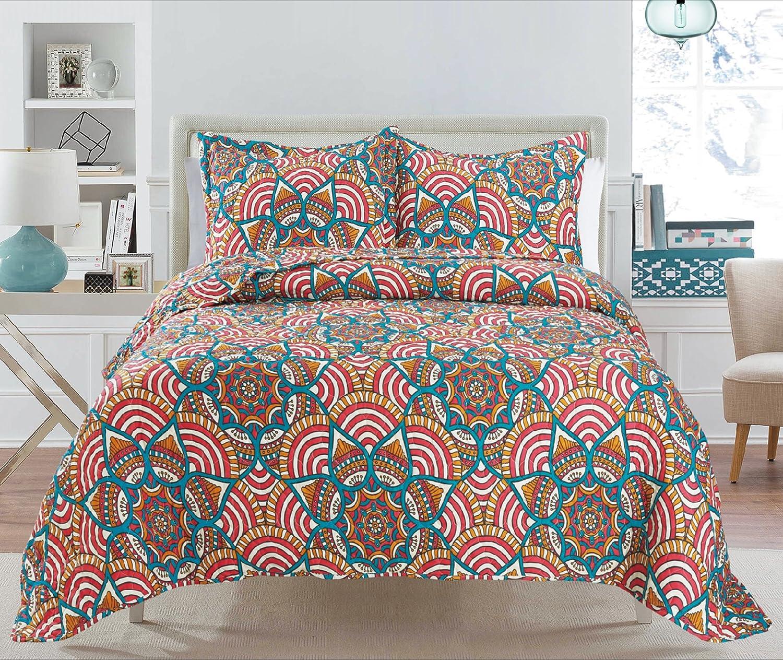 3 Piece Quilt Super sale Set Bedspread King BRIA Outstanding Q IRIS Reversible Love