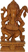Dancing Ganesha Playing with Drum - Wood Statue