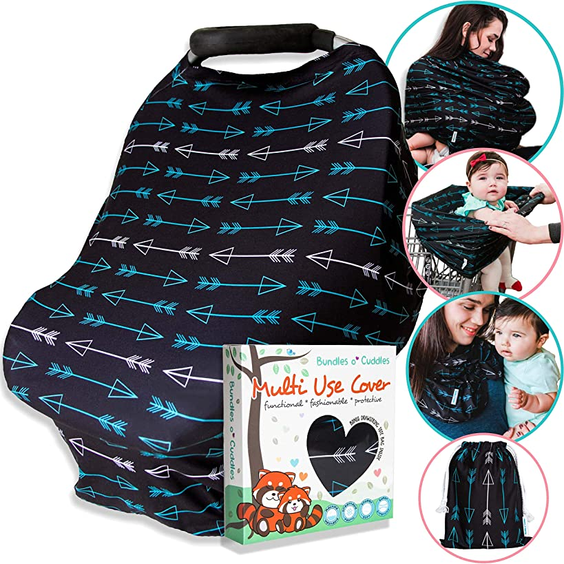 """Nursing Cover Carseat Canopy, Multi-Use Soft Stretchy Car Seat Covers for Baby Stroller, Breastfeeding Scarf, High Chair, Shopping Cart, Gift Set for Boys and Girls """"Hush"""" (Black Arrows)"""