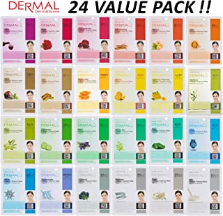 DERMAL 24 Combo Pack Collagen Essence Full Face Facial Mask Sheet – The Ultimate..