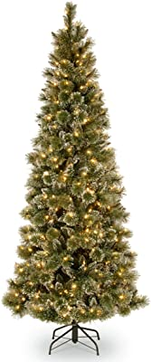 National Tree 7.5 Foot Glittery Bristle Pine Slim Tree with White Tipped Cones and 500 Clear Lights, Hinged (GB3-304-75)