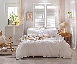KAYCEE أغطية لحاف من الكتان الخالص مقاس كوين، 3 قطع (1 غطاء لحاف و2 وسادة شام) طقم سرير كتان ناعم مسامي مع زر إغلاق، أبيض