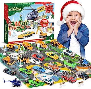 Calendario de Adviento de Navidad 2021 para niños: Hiwezezc aleación de vehículos y helicópteros juguetes más 2 alfombrillas de juego, regalo perfecto para niños, calendarios de cuenta regresiva de Navidad para niños   niñas   niños   bebé