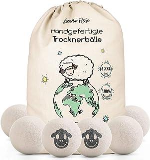 Trocknerbälle für Wäschetrockner - Der Natürliche Weichspüler aus 100% Schafwolle - 6x XXL Trockner Bälle für Daunenjacken- Wäsche-bälle aus Wolle als Weichspüler Daunen- XXL Filz-Bälle