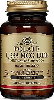 Solgar Folate 1,333 mcg DFE (as Metafolin® 800 mcg), Heart Health, Non-GMO, Suitable for Vegans, 100 Tablets