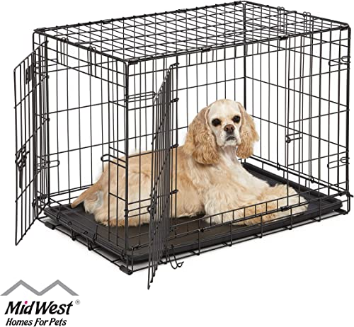 Dog Crate | Midwest ICrate 30 Inch Double Door Folding Metal Dog Crate w/Divider Panel, Floor Protecting Feet & Leak ...